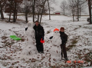 Our kids are like other kids, they love to build snowmen when it snows.  This picture was taken in 2010.